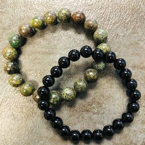 Bracelet Bundle Set African Turquoise Stone Onyx Stone Gemstone